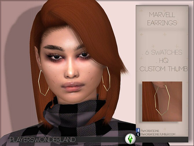 Sims 4 Marvell Earrings by PlayersWonderland at TSR