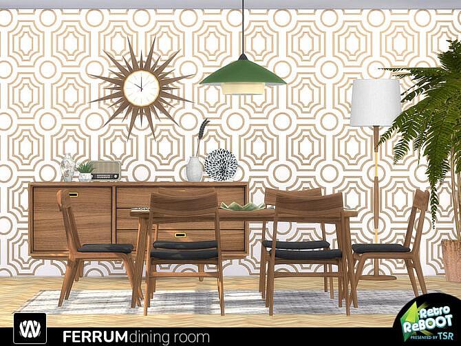 Sims 4 Retro Ferrum Dining Room by wondymoon at TSR