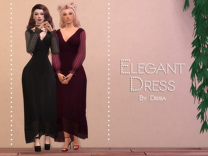 Sims 4 Elegant Formal Dress by Dissia at TSR