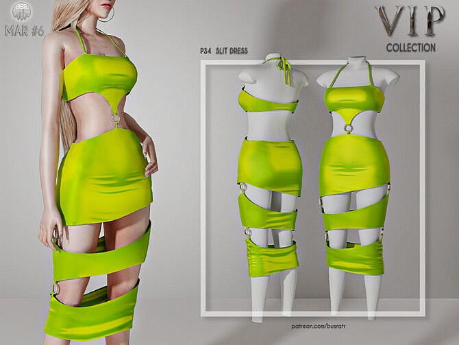 Sims 4 SLIT DRESS P34 by busra tr at TSR