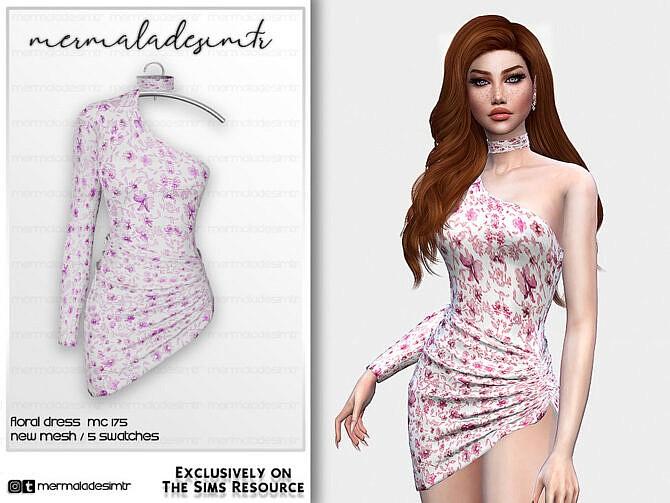 Sims 4 Floral Dress MC175 by mermaladesimtr at TSR