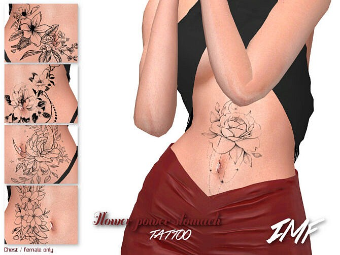 Sims 4 IMF Tattoo Flower Power Stomach by IzzieMcFire at TSR