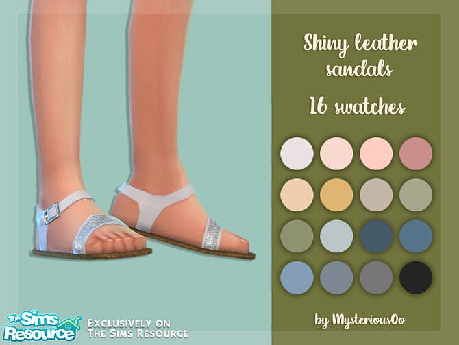 Sims 4 Shiny leather sandals by MysteriousOo at TSR