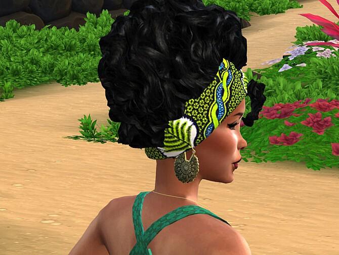 Sims 4 African Curls Head Wrap II Hair by drteekaycee at TSR