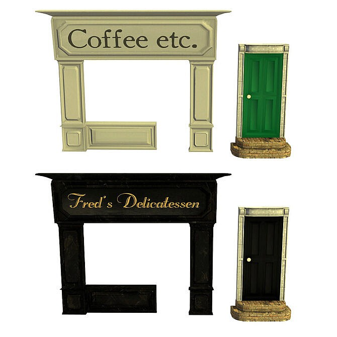 Sims 4 Fake door and shop fronts recolored at Riekus13