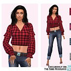 Plaid Puffy Sleeves By Pinkfizzzzz