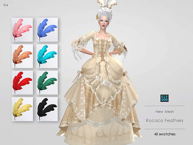 Sims 4 Rococo Feathers at Elfdor Sims