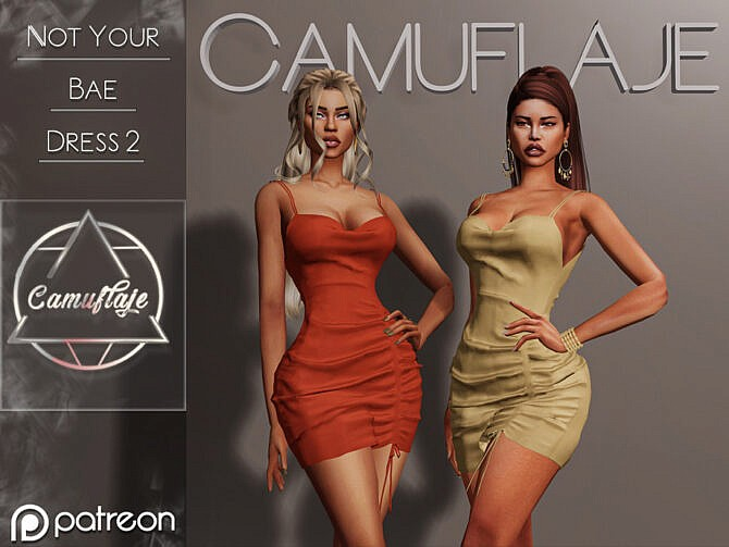 Sims 4 Not Your Bae Dress II by Camuflaje at TSR