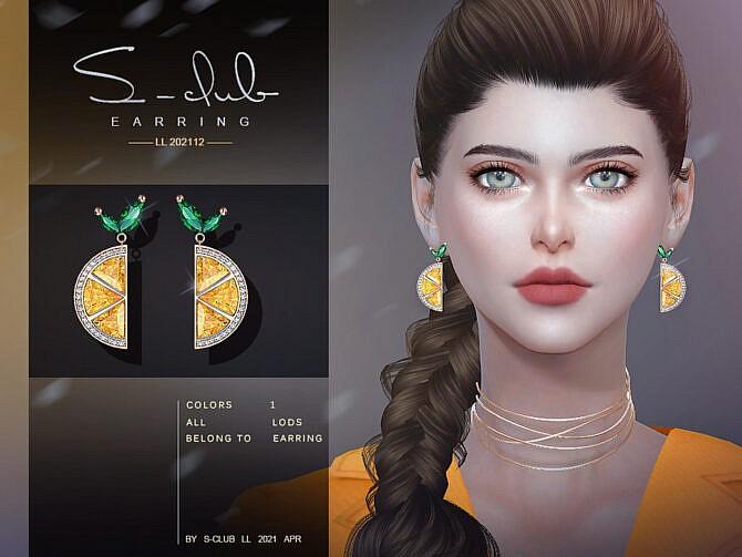 Sims 4 Lemon earrings 202112 by S Club LL at TSR
