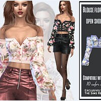 Blouse Floral Print Open Shoulders By Sims House