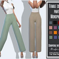 Female Classic Pants Monophonic By Sims House
