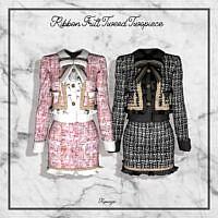 Ribbon Frill Tweed Twopiece