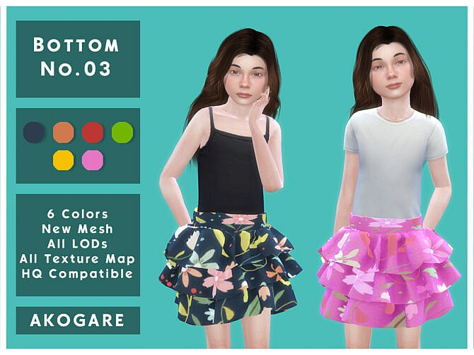 Sims 4 Skirt No.03 by Akogare at TSR