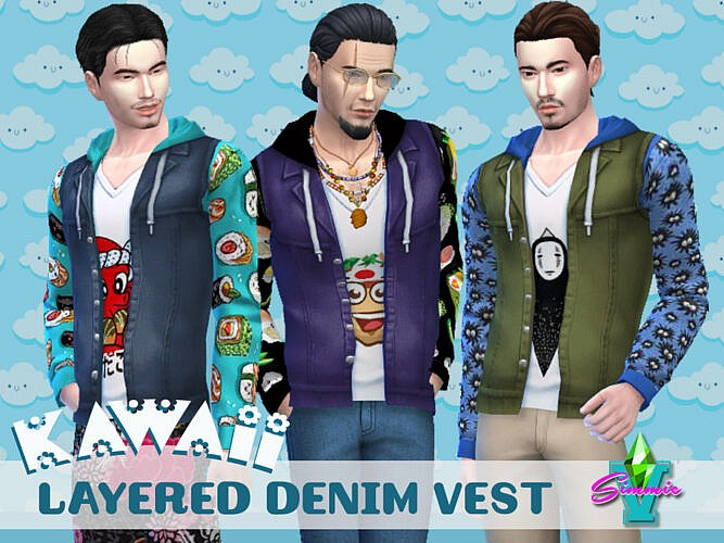 Kawaii Layered Denim Vest By Simmiev