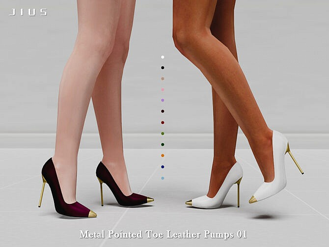 Sims 4 Metal Pointed Toe Leather Pumps 01 by Jius at TSR