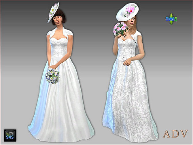 Sims 4 Wedding set: Bride dresses and accessories by Mabra