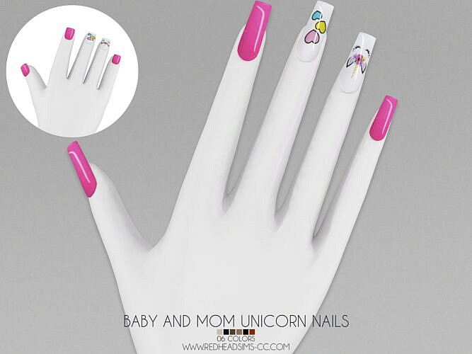 Baby And Mom Unicorn Nails
