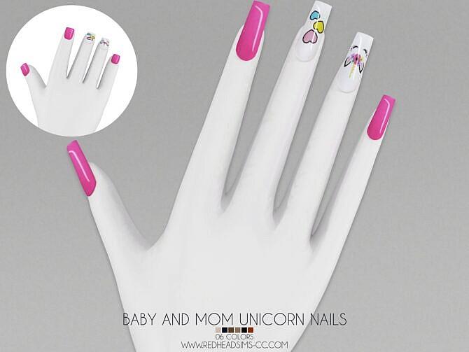 Sims 4 BABY AND MOM UNICORN NAILS at REDHEADSIMS