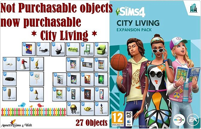 Sims 4 Not Purchasable objects now purchasable * City Living at Annett's Sims 4 Welt