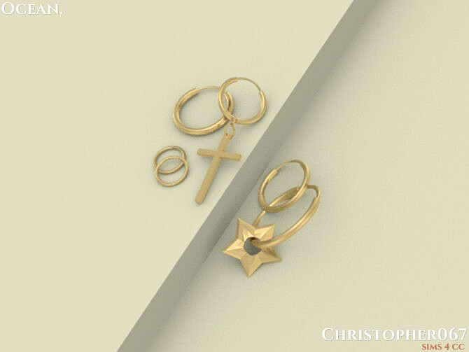 Sims 4 Ocean Earrings by Christopher067 at TSR
