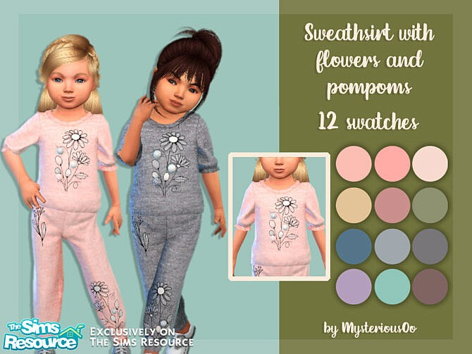 Sims 4 Sweatshirt with flowers and pompoms by MysteriousOo at TSR