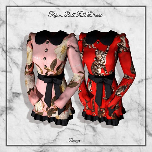 Ribon Belt Frill Dress