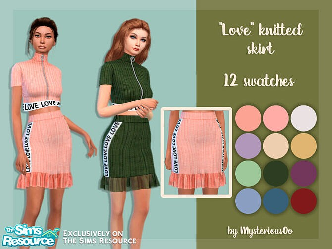Sims 4 Love knitted skirt by MysteriousOo at TSR