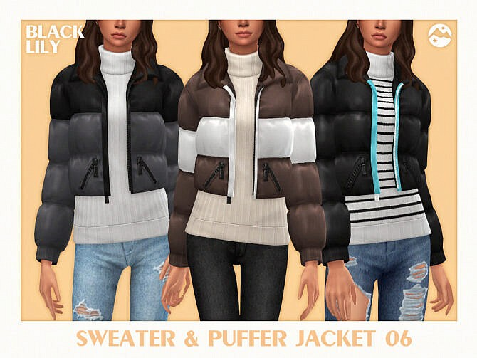 Sims 4 Sweater & Puffer Jacket 06 by Black Lily at TSR