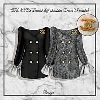 Brooch Off-shoulder Dress