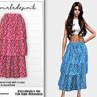 Ditsy Floral Tiered Midi Skirt Mc192 By Mermaladesimtr