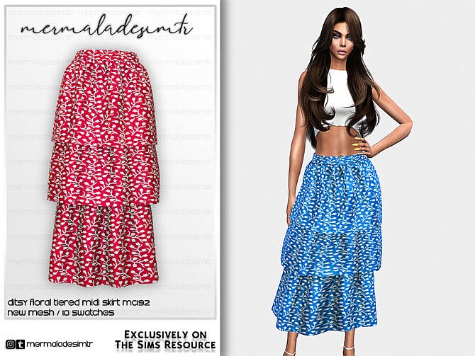 Sims 4 Ditsy Floral Tiered Midi Skirt MC192 by mermaladesimtr at TSR