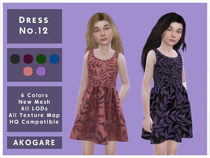 Sims 4 Dress No.12 by Akogare at TSR