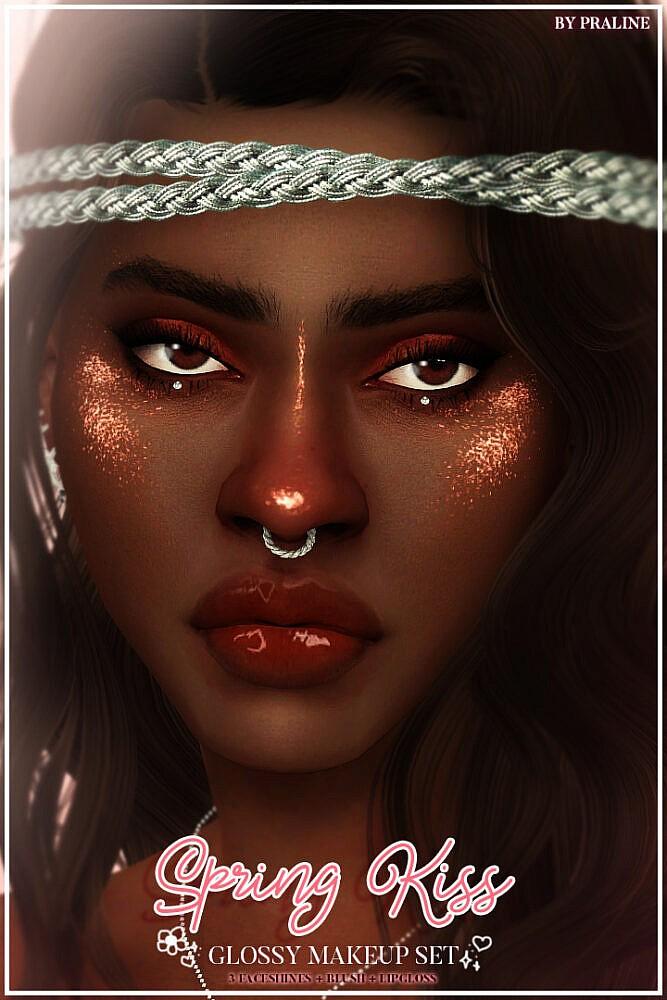 Sims 4 SPRING KISS Glossy Makeup Set at Praline Sims