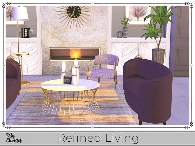 Sims 4 Refined Living Sitting Room by Chicklet at TSR