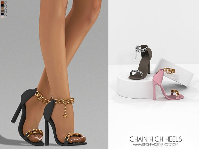 Chain High Heels + Basic Earrings