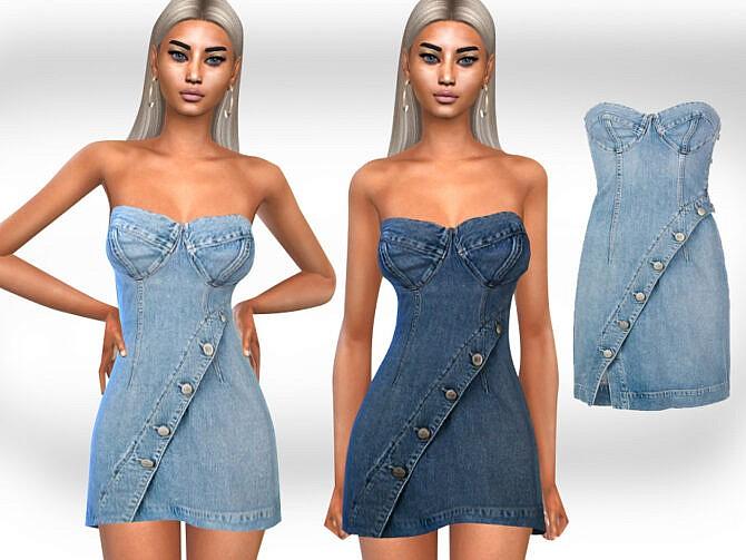 Sims 4 Strapless Denim Dress by Saliwa at TSR