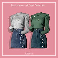 Pearl Knitwear & Denim Skirt