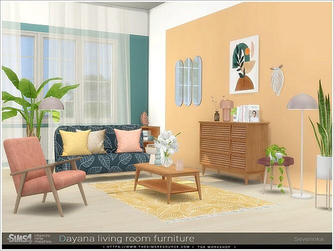 Sims 4 Dayana living room furniture by Severinka at TSR