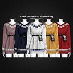 V-neck Sweater Dress With Waist Bag