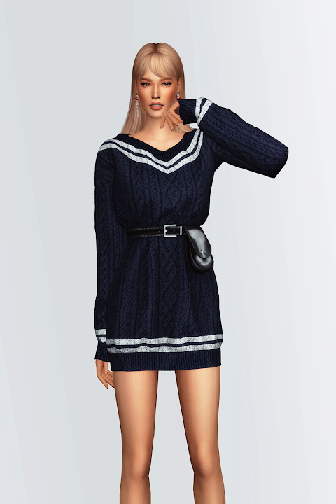 Sims 4 V Neck Sweater Dress with Waist Bag at Gorilla