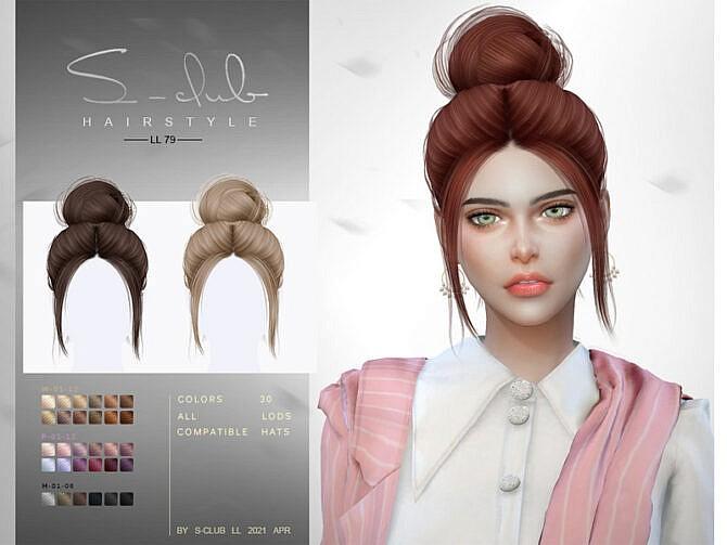 Sims 4 Bun Hair N79 by S Club LL at TSR