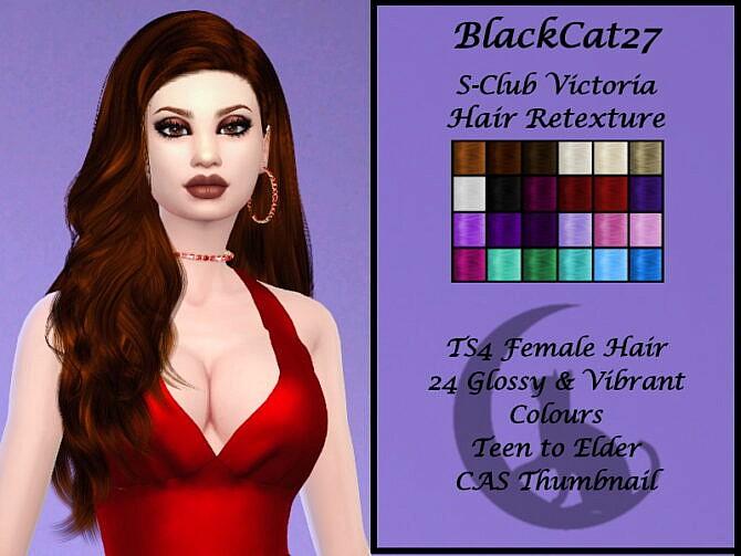 Sims 4 S Club Victoria Hair Retexture by BlackCat27 at TSR