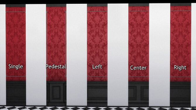 Sims 4 Wall with Doric Wainscot and Brocade by TheJim07 at Mod The Sims 4