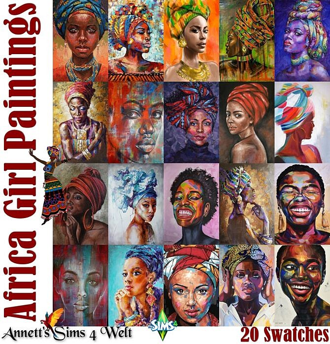 Sims 4 AFRICA Girl Paintings at Annett's Sims 4 Welt