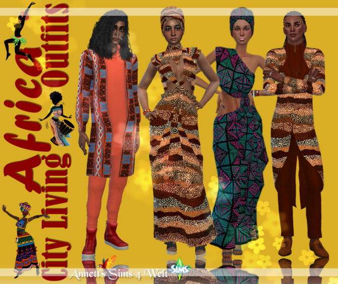 Sims 4 City Living AFRICA Outfit at Annett's Sims 4 Welt