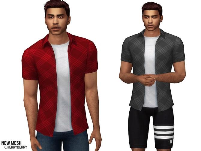 Sims 4 Casual Plaid Shirt by CherryBerrySim at TSR