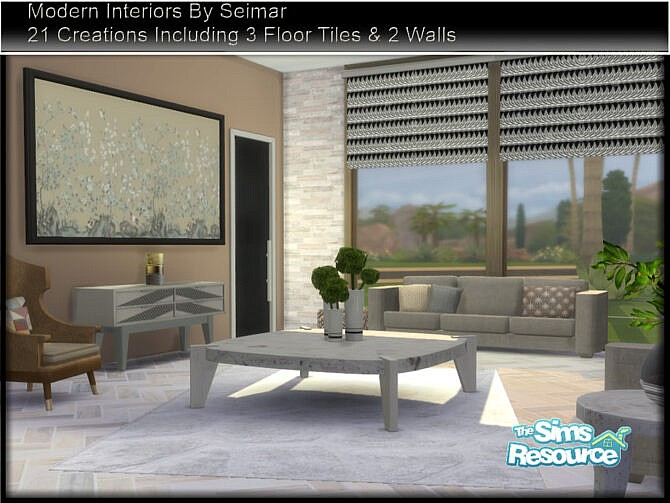 Sims 4 Modern Interiors Living Set by seimar8 at TSR