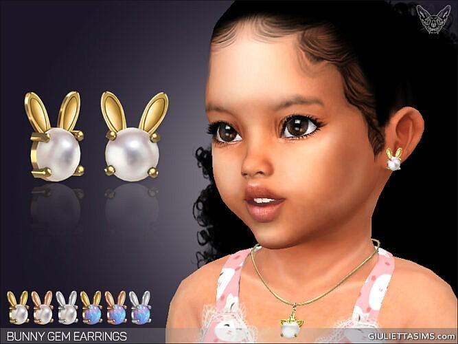 Bunny Gem Earrings For Toddlers
