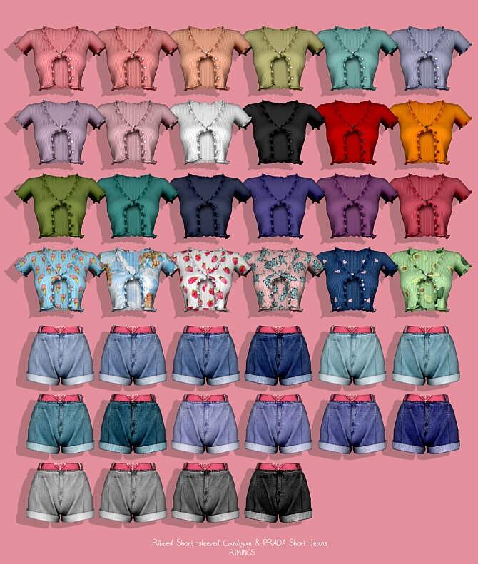 Sims 4 Ribbed Short Sleeve Cardigan & Denim Shorts at RIMINGs