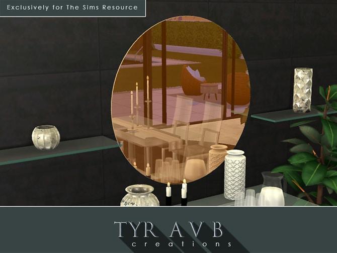 Sims 4 Rosegold Tinted Round Mirror by TyrAVB at TSR
